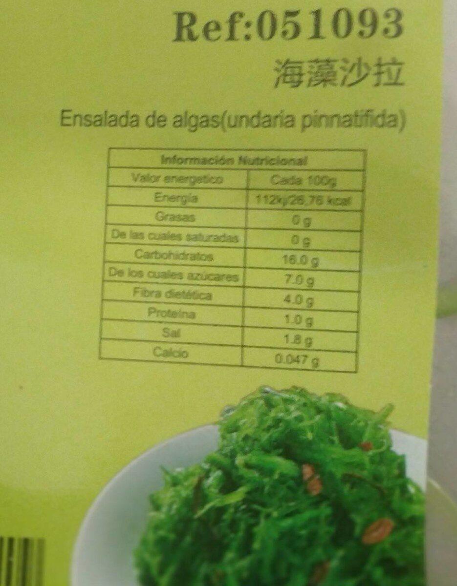 Ensalada de algas (undaria pinnatifida) - Información nutricional - es