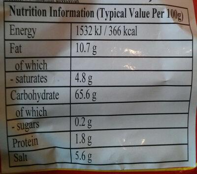 Hot & Sour Flavour Instant Vermicelli - Nutrition facts - en