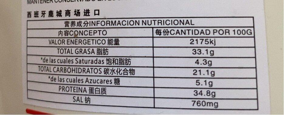 甘草味西瓜子 - Información nutricional - es
