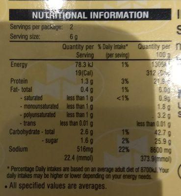 Freeze Dried Miso - Nutrition facts - en