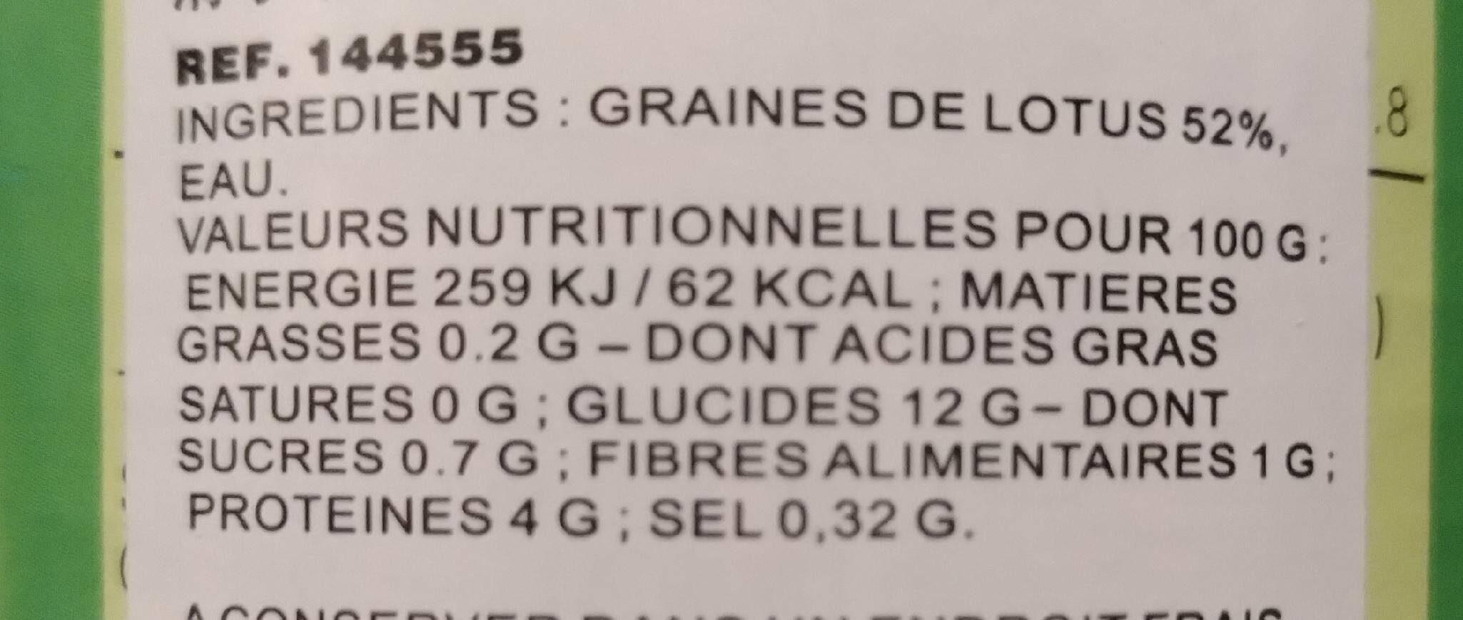 Graînes de lotus au naturel - Nutrition facts - fr