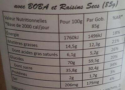 MATCHA MIX - Informations nutritionnelles - fr