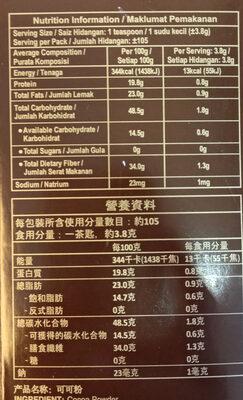 โกโก้ผง Cocoa Powder - Informations nutritionnelles - th