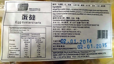 Egg Custard Tarts - Nutrition facts