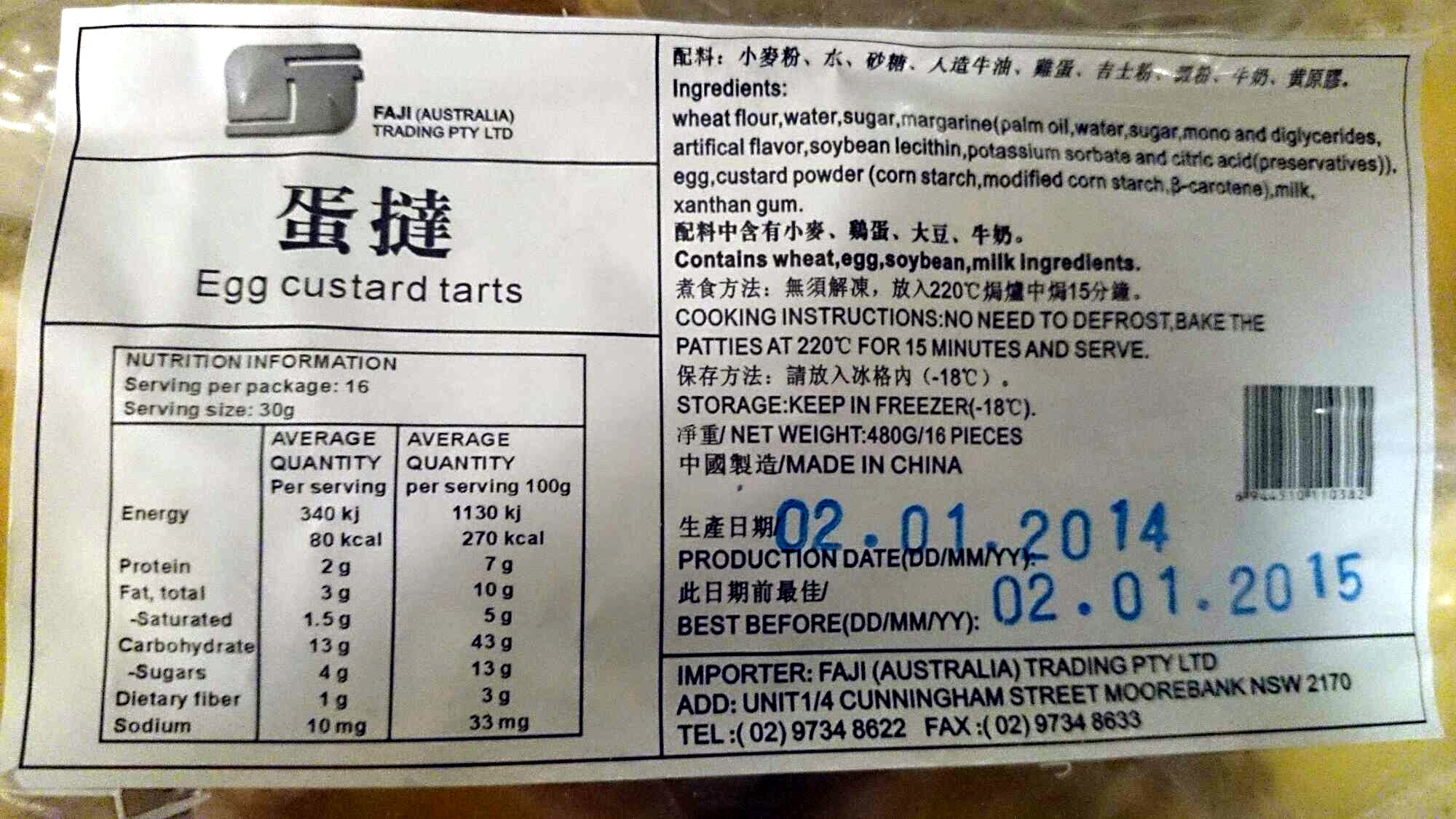 Egg Custard Tarts - Nutrition facts - en