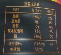 金卡能量6小时 - Nutrition facts