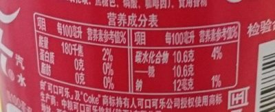 可口可乐 - Nutrition facts