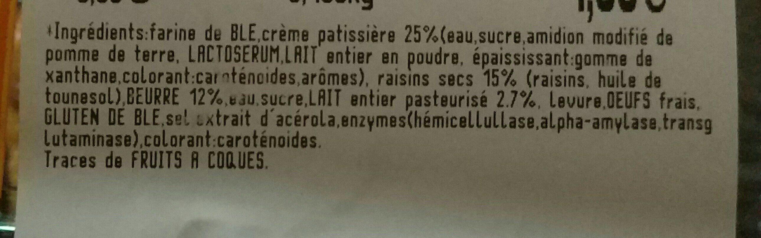 Pain aux raisins - Ingrédients - fr