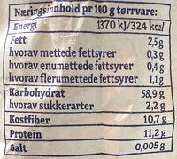 Møllerens Hvete Helkorn - Informations nutritionnelles - nb
