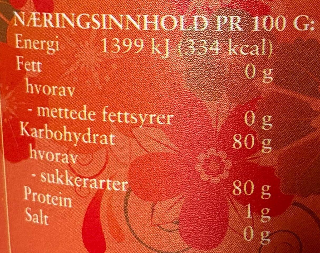 Blomsterhonning - Informations nutritionnelles - nb