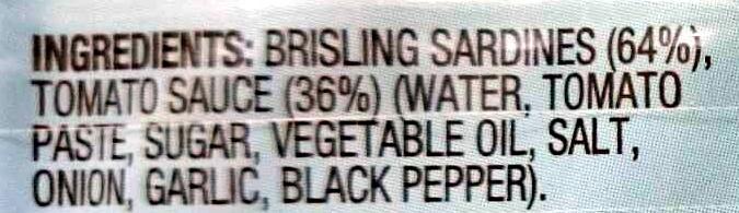 Brisling Sardines in Tomato Sauce - Ingredients - en