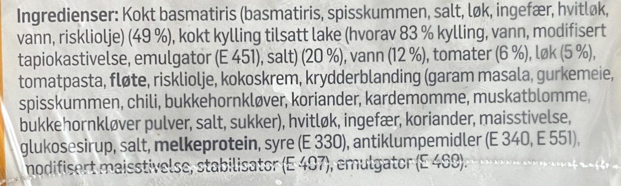 REMA 1000 Kylling Tikka Masala - Ingrédients - en