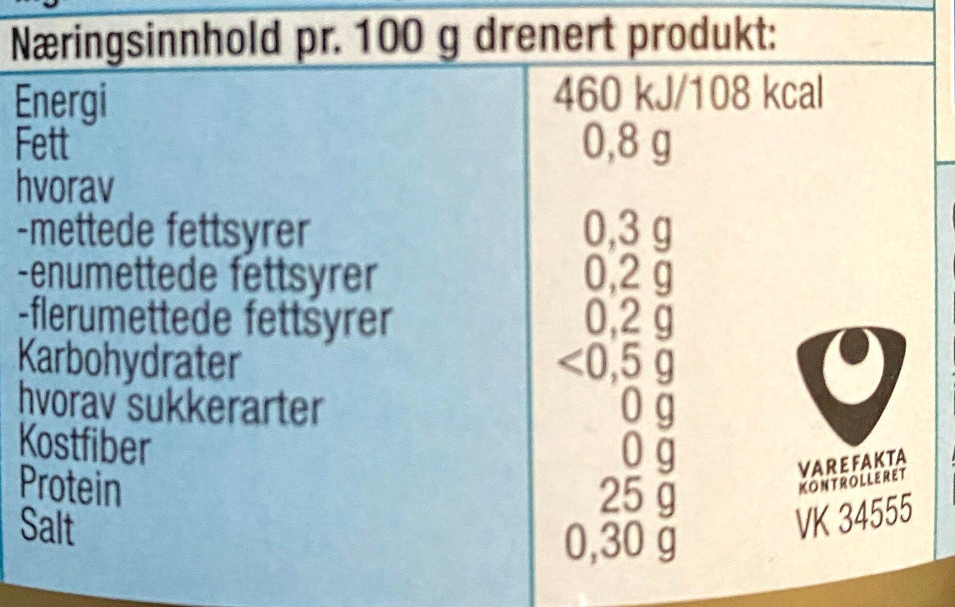 REMA 1000 Tunfisk i Vann - Valori nutrizionali - no