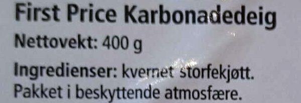 Karbonadedeig - Ingredients - no