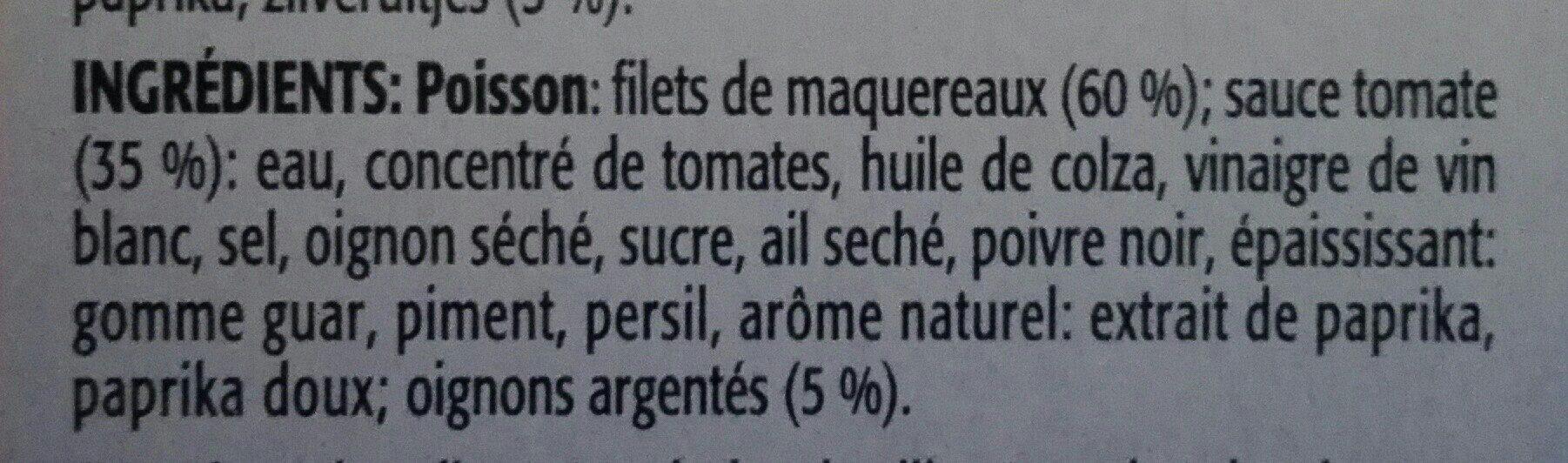 Filets de maquereaux à la sauce aux oignons et à la tomate - Ingrédients - fr