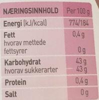 Moste bringebær - Informations nutritionnelles - nb