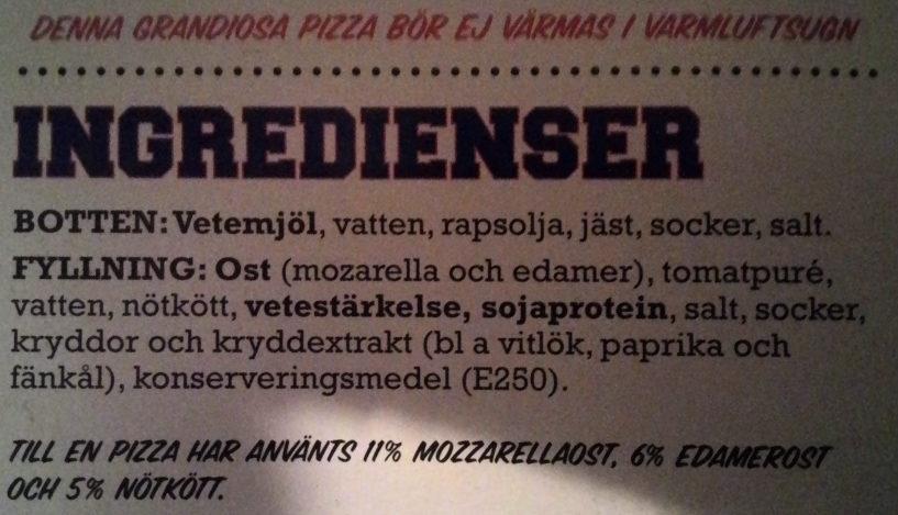 Grandiosa Pan Pizza Classic - Ingredients - sv