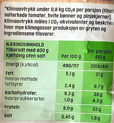 TORO Italiensk Gryte - Informations nutritionnelles - nb