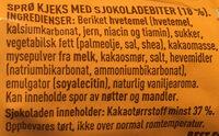Sprø kjeks med sjokoladebiter - Ingredients - nb