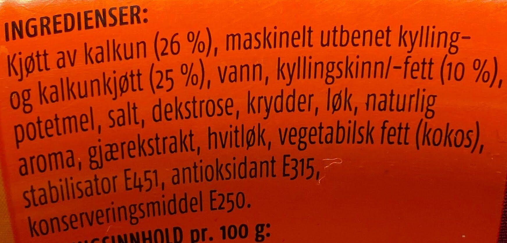 Prior Kalkunkorv - Ingrédients - nb