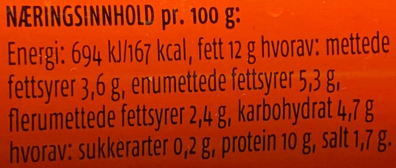 Prior Kalkunkorv - Informations nutritionnelles - nb