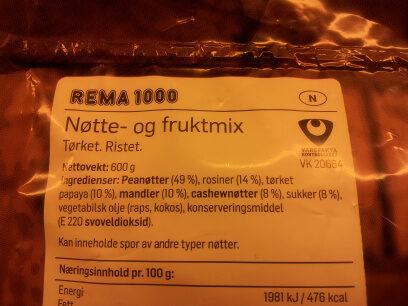 Frukt- & nøttemix - Ingrédients - nb