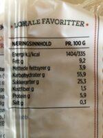 Smørbrødkjeks - Informations nutritionnelles - nb