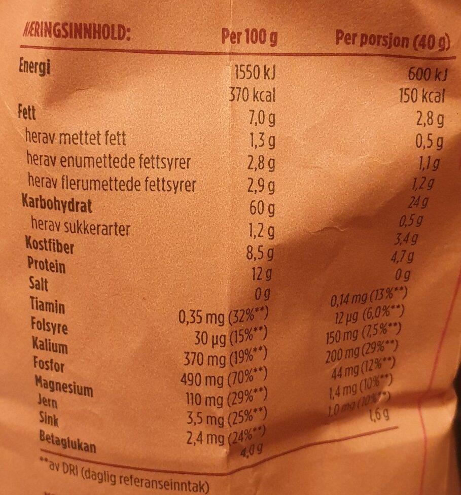 Lettkokte Havregryn 100% fullkorn - Valori nutrizionali - nb