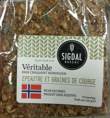 Véritable pain croquant norvégien - épeautre et graines de courge - Produit - fr