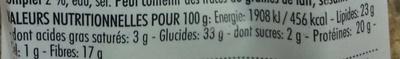 Véritable pain croquant norvégien - épeautre et graines de courge - Informations nutritionnelles