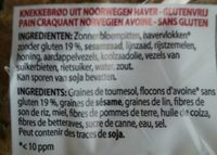 Pain craquant avoine sans gluten - Ingrediënten