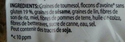 Pain craquant avoine sans gluten - Ingrédients - fr