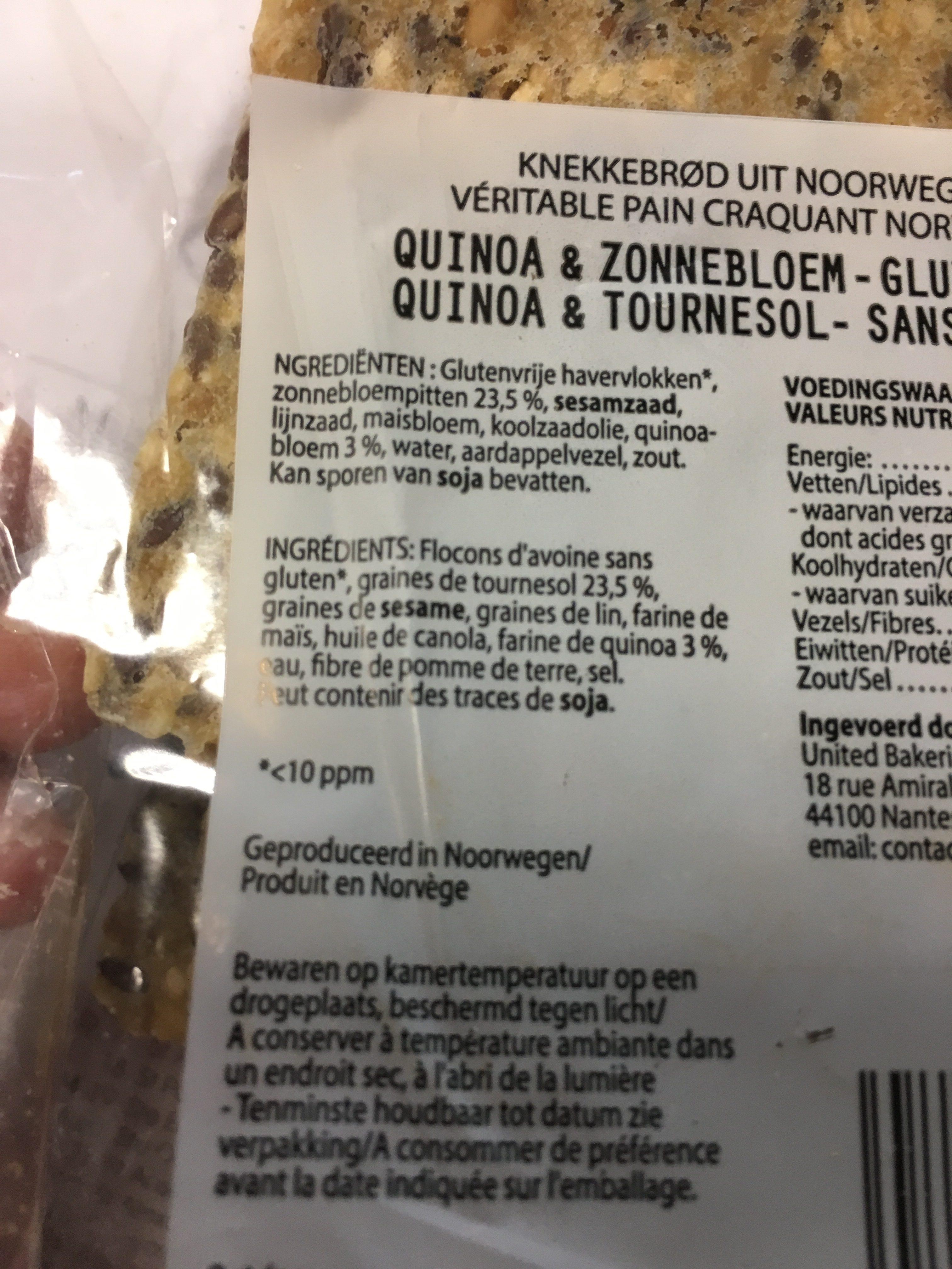 Pain Craquant Norvégien Quinoa Et Tournesol Sans Gluten Sigdal - Ingrediënten