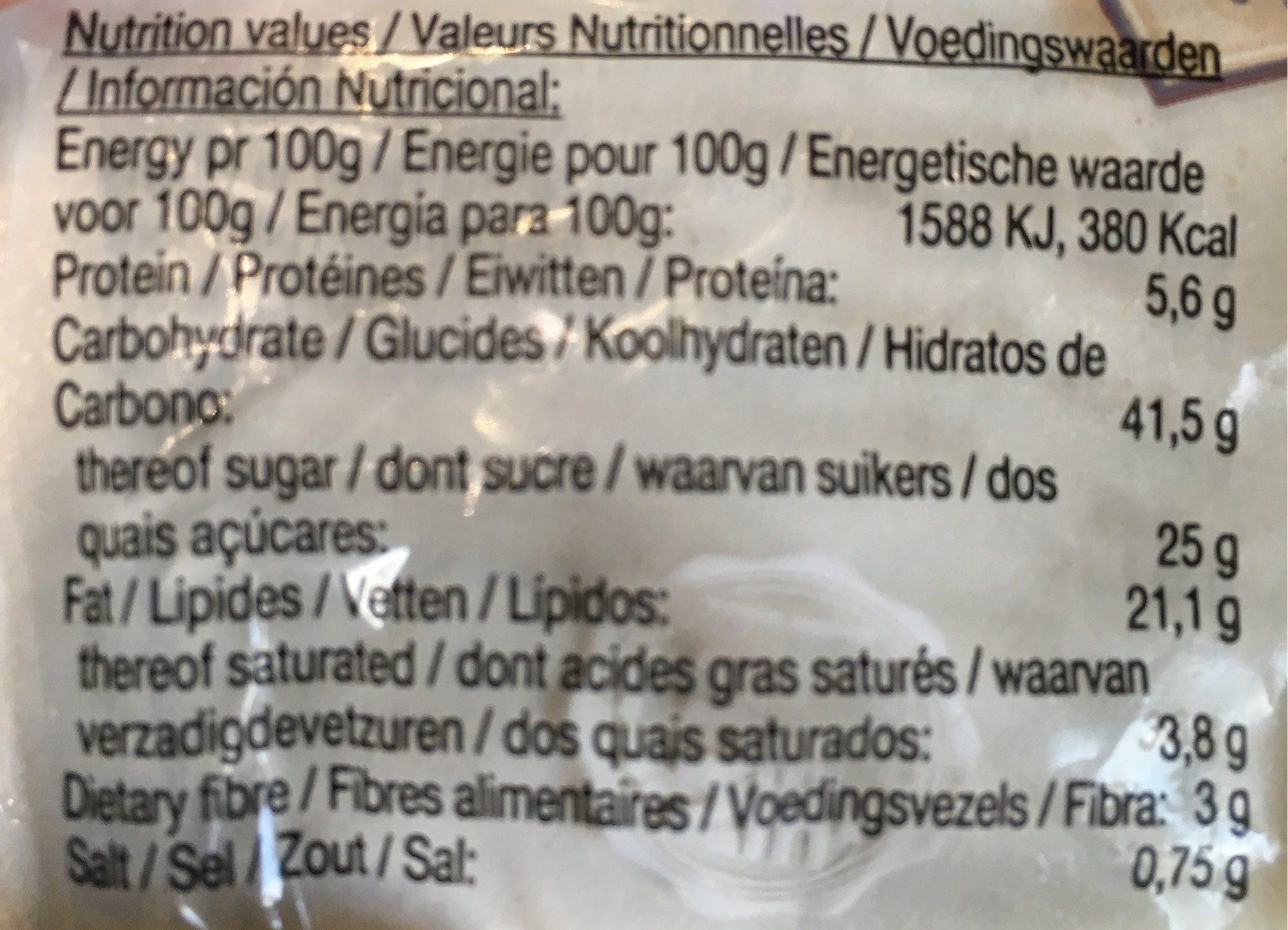 Aunt Mabel's Milk Chocolate Muffins - Informations nutritionnelles - en