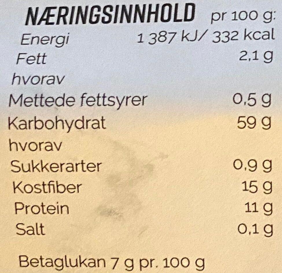 Duga Byggryn Flak - Informations nutritionnelles - nb