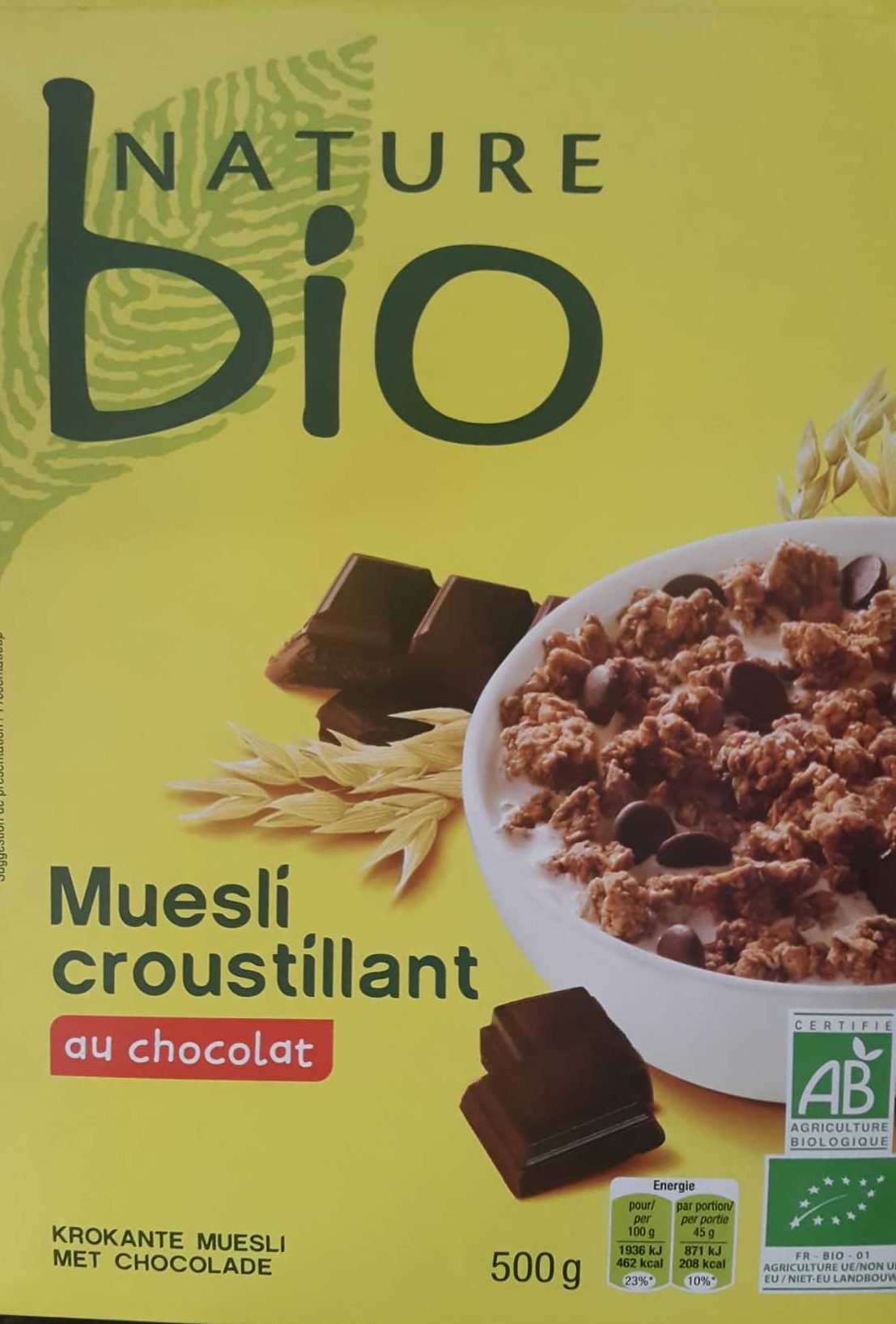 muesli croustillant au chocolat nature bio 500 g. Black Bedroom Furniture Sets. Home Design Ideas
