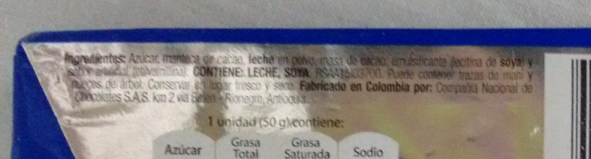 Chocolatina Jet - Ingredients