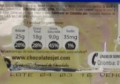 Chocolatina Jet - Nutrition facts