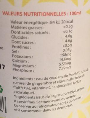 Eau de coco royale - gingembre et citronnelle - Nutrition facts - fr