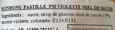 Bonbons au miel de Savoie - Ingrediënten
