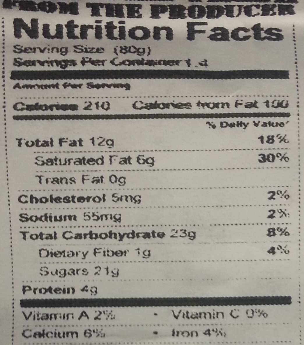 California Bear Poop - Nutrition facts