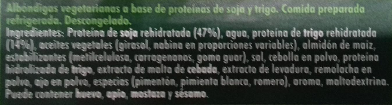 Albóndigas vegetarianas - Ingredients