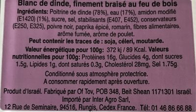 Chiffonnade Blanc Dinde - Voedingswaarden - fr