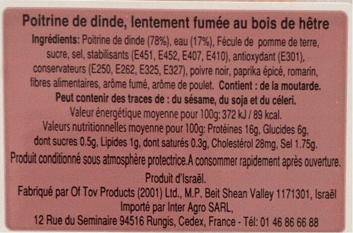 Poitrine de Dinde Fumée - Voedingswaarden - fr