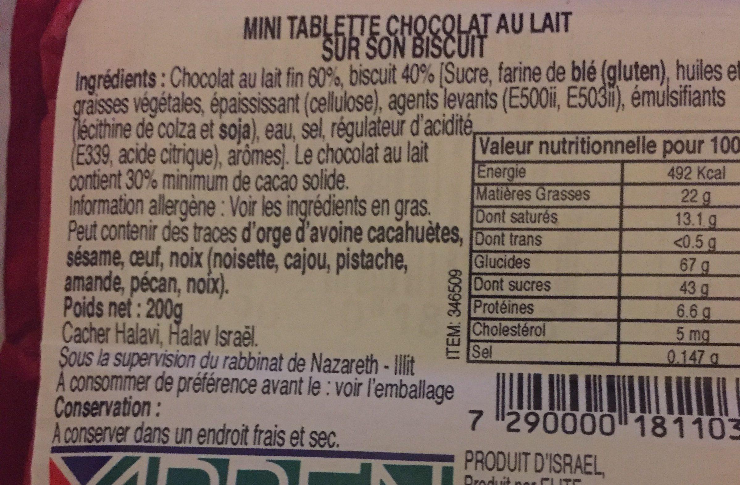 Délicatesse Croustillante De Biscuit Au Chocolat Au Lait - Ingrédients - fr