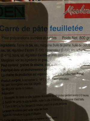 Carrés Pate Feuilleté - Ingrédients - fr