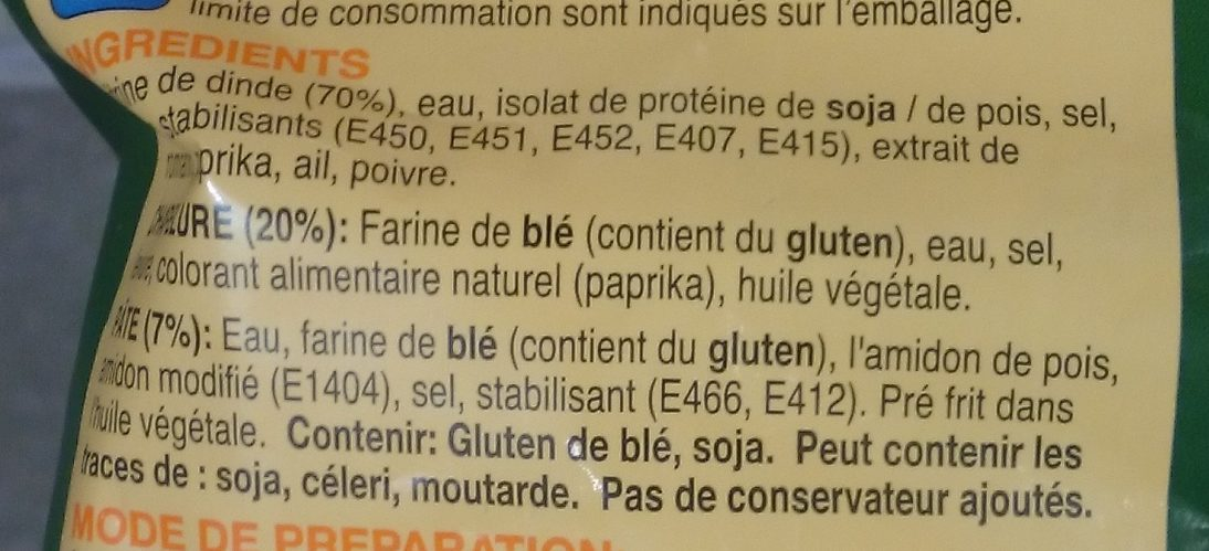Escalopes Entières de Dinde Panées et Précuites - Ingrediënten - fr