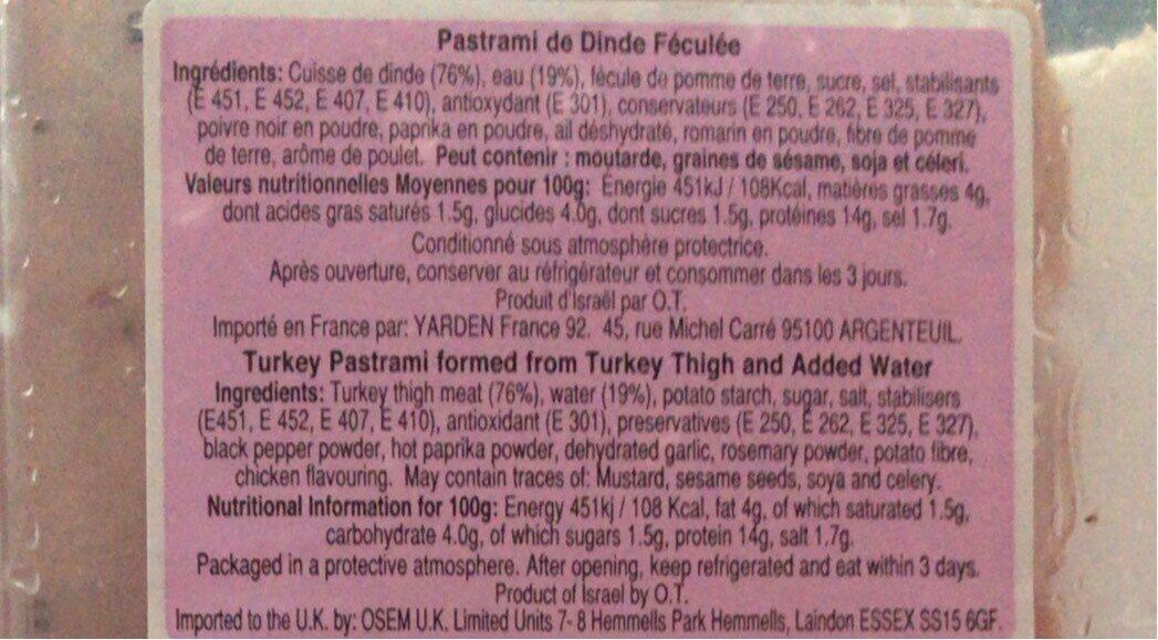 Pastrami de dinde fumée - Informations nutritionnelles - fr