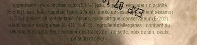 Houmous Mesabecha - Ingrédients