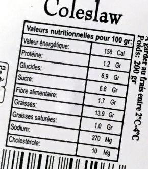 Coleslaw - Informations nutritionnelles
